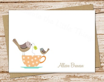 teacup birds note cards notecards . folded cards . personalized stationery stationary . tea cup . set of 8