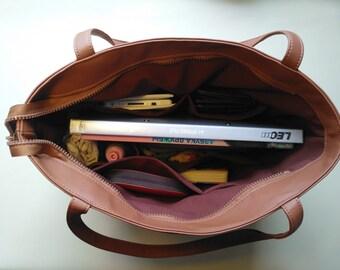 Brown Tote bag, LargeTote, Laptop bag, Organizer bag, Office handbag, Vegan Leather Bag, Personalized bag