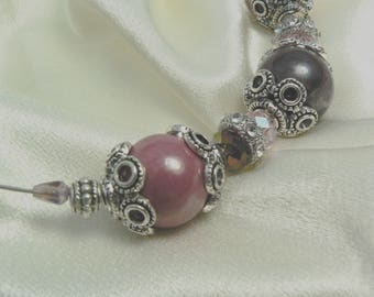 Outstanding necklace 'The FUCHSIA' from Metal, glass and ceramic beads