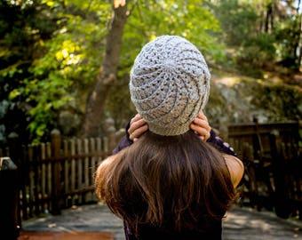 Crochet Beanie, Spiral Beanie, Handmade Beanie, Gray Beanie, Gray Hat, Crochet Hat, Spiral Hat, Woman Beanie, Woman Hat