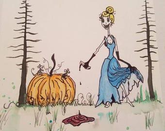 Disney Cinderella gothic horror watercolor artwork