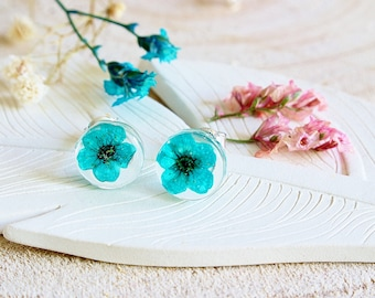 Real Flower Earrings, Turquoise Flowers,  Gifts for Her, Wildflower Jewelry, Botanical Jewellery, Resin Earrings, Stud Earrings
