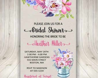 Watering Can, Bridal Shower Invitations