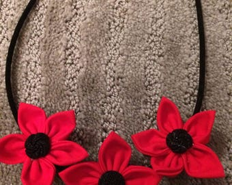 Red Black Button Fabric Flower Statement Necklace