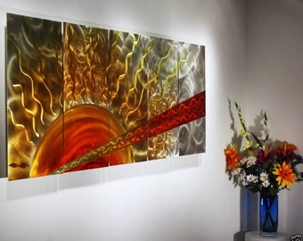 Wilmos Kovacs Large Metal Wall Art, Abstract Sunshine Painting, Wall Sculpture - W79