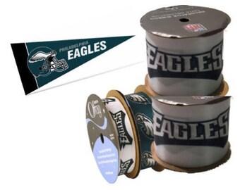 NFL Philadelphia Eagles Ribbon, 4-pack of Ribbon & Mini Pennant, Licensed NFL Offray Ribbon