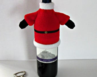 Fleece Wine Bottle Wrap and Hat-Santa themed.  Perfect to decorate any wine bottle for the holidays.