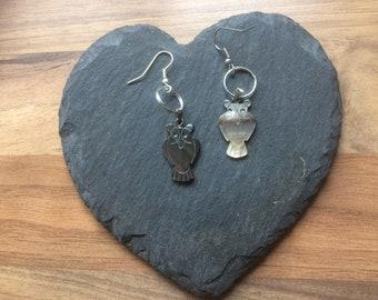 shell owl earrings for pierced ears