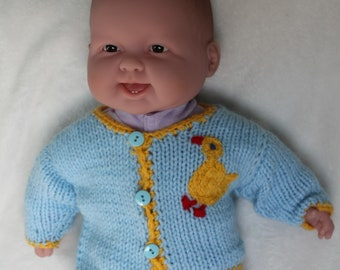 Hand-Knit Blue and Yellow Duck Easter Sweater Cardigan for Newborn Babies , Acrylic.