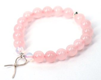 Pink Ribbon Bracelet . Rose Quartz Self Love sterling silver breast cancer awareness survivor jewelry stacking bracelet