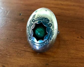 Silver and Malachite Shadow Box Ring