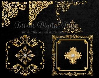 Gold Frames Corners Ornaments Accents | Diamonds Scrolls Metallic Florals Ornate | Clipart Digital Instant Download