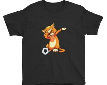 Dabbing Cat, cat soccer, Cats Shirt, Warrior Cats, Cat Lover, cat dab, soccer cat, Cool Cat, Meow, cat kids dab, Youth Short Sleeve T-Shirt