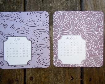 Purple 16 month  Desktop Calendar