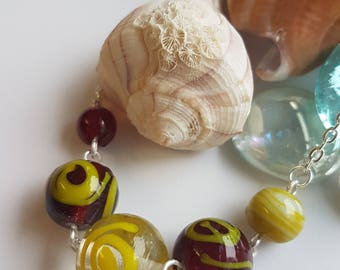 Golden Brown Glass Bead Necklace