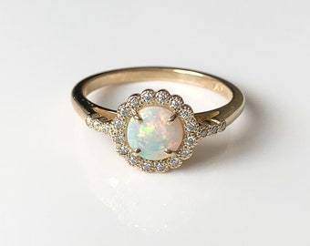 Opal Engagement Ring, Gold, Promise, Unique, Vintage Inspired, Dainty, Jewelry, 6mm Cabachon, Australian, Halo, Moissanite, Conflict free