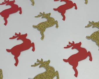 Reindeer Table CONFETTI Gold and Red Christmas Decorations FESTIVE