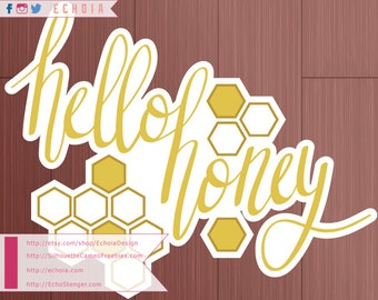 Hello Honey - Hand Lettered SVG, PNG, DXF cut file