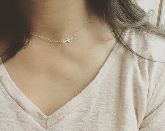 Sideways Cross Necklace, Tiny Cross Necklace, All 925 Sterling Silver, Cross Necklace,  Everyday Wear, Perfect to Layer, Holiday Gift