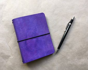 Leather Journal Planner Notebook Cover, Passport Wide Size, Purple - 246