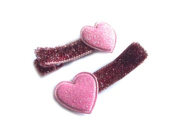 Pink Heart Hair Clips Pink Hair Clips Pink Glitter Hair Clips Baby Girl Hair Clips Baby Hair Clips Valentines Day Toddler Girl Light Pink