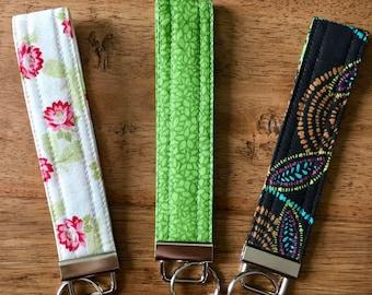 Fabric Key Chain, Floral, Wristlet Keychain, Key Chain, Key Fob Wristlet, Stocking Stuffer, Teacher Gift, Valentine's Day, Under 10 Dollars