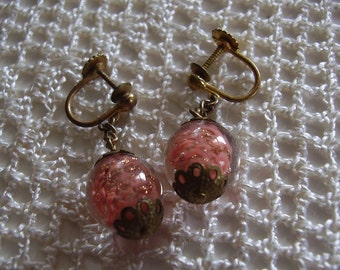 Vintage Earrings Pink Murano Glass Filigree Settings Italy