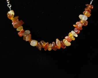Red Agate Stone and Silver  Beaded Necklace