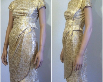 1950's Dress • Vintage 50's Metallic Gold Wiggle Dress • xs