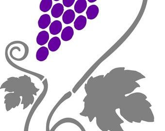 Stencil, vine and grape A3