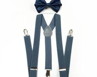 navy blue bowtie, navy bowtie, grey suspenders, gray suspenders, mens gray suspenders, navy blue bow tie and gray suspender, mens suspenders