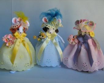 Bridesmaids Felt Mice Jonquil, Flora & Rose