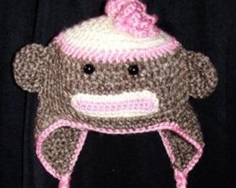 Sock Monkey Earflap Hat for toddler