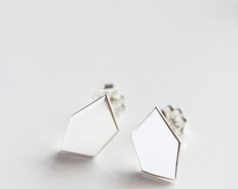 Geometric stud earrings, recycled sterling silver, modern, minimal jewelry, eco friendly - The Geometry of the Heart Stud Earrings