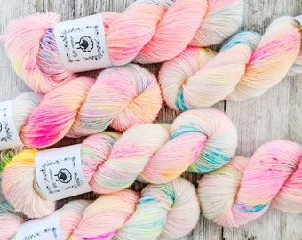 YAY! SINGLES, Birthday Confetti, Hand Dyed Yarn, hand painted yarn, sock yarn, knitting yarn, crochet yarn