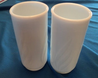 Two Vintage White Milk Glass Flower Vases--For Wedding--Table Bouquet--Party Centepiece