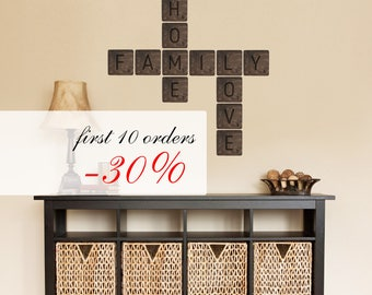 Rustic Interior Decor Wall Wooden Scrabble Tiles Letters Words Home Sweet Home Design Anniversary Housewarming Wedding Gift New Home