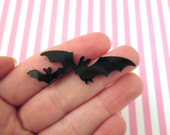 3 Black Laser Cut Acrylic Bat Cabochons, Cute Halloween Cabs #425