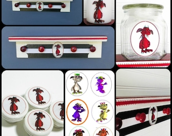 Nursery Decor Set Featuring 'Candy' the Red Monster Kid - Includes Shelf, Candle, Knob Set, Glass Jar.  Great Kids' Room or Playroom Decor.