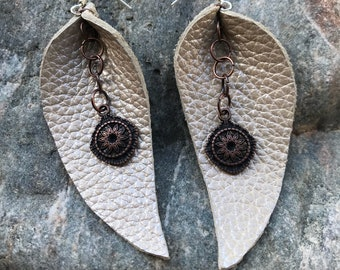 Leather Teardrop Earrings with Antiqued Copper Flower Charm // Leather Earrings // Handmade Earrings