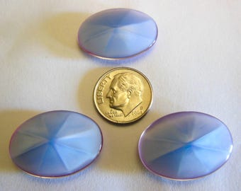 1 Vintage West German Light Blue  Opalescent 25x18mm Stone