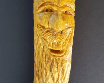 Wood spirit wood carving pine knot head mountain man Christmas anniversary gift wall decor rustic cabin decor wall hanging
