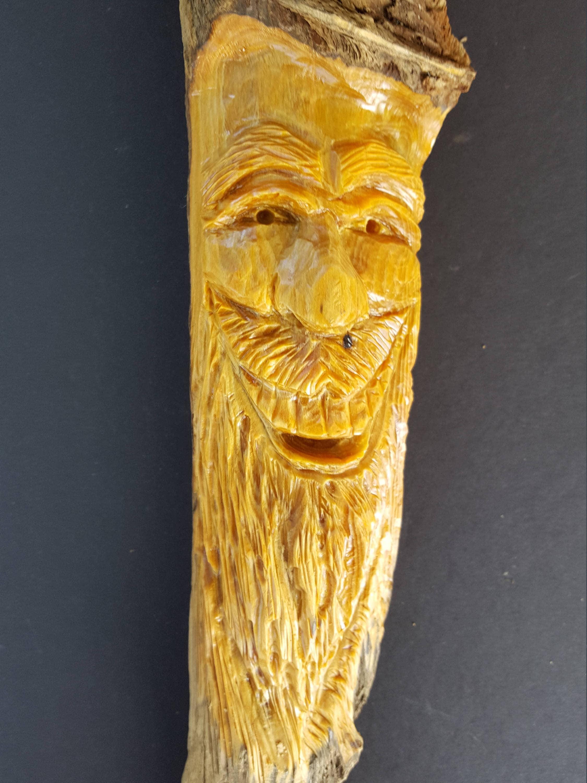 Wood spirit wood carving pine knot head mountain man Christmas