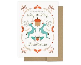 Very Merry Christmas Card - Reindeer Holiday Card