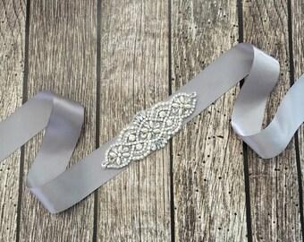 Grey wedding sash, rhinestone wedding sash, all white sash, wedding belt, simple wedding sash, grey sash
