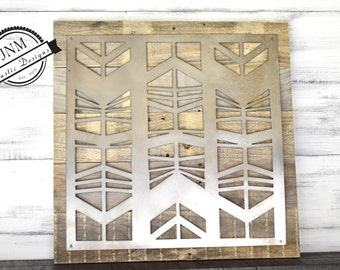 Reclaimed Wood, Metal Sign, Metal and Wood, Large Metal Art, Tribal, Pallet Wood, Wall Hanging, Rustic Home Decor, Wood Sign, Wood Wall Art
