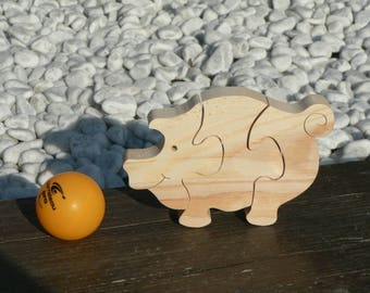 """Le Cochon"" animal puzzle-cut wood"