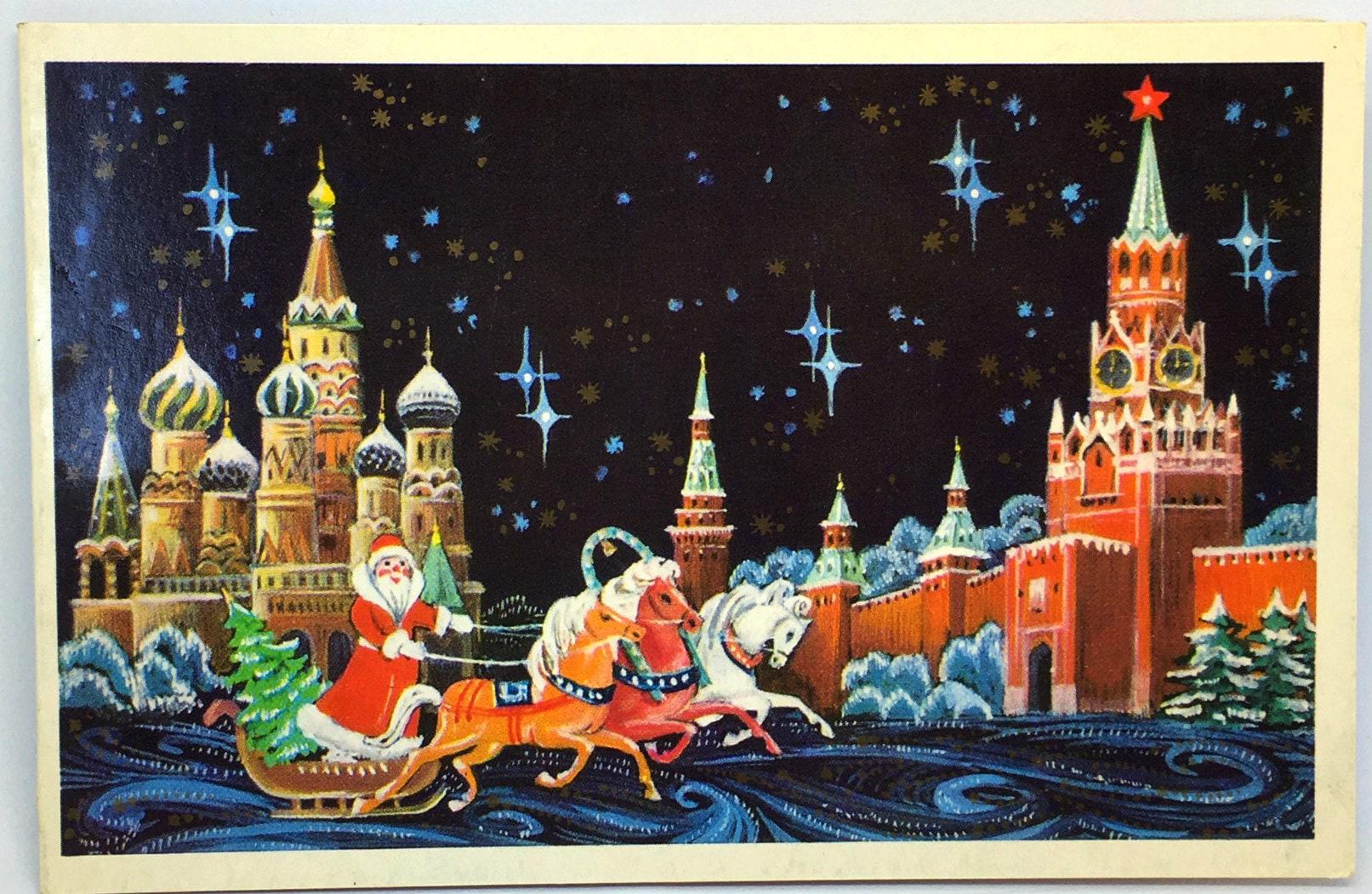 Weihnachtspostkarte Santa Claus auf Weihnachten Glöckchen mit
