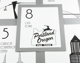 Portland Table Number Wedding Decor Reception Sign Cards Landmark Icons Made to Order Oregon Travel City