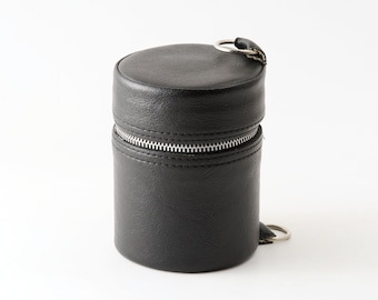 Vintage Small / Medium Black Hard Lens Case With Red Inside - Very Good Condition Leather Effect